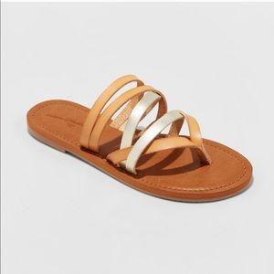 Universal Thread Shoes - NWT Universal Thread Gold Maritza Tan Slide Sandal